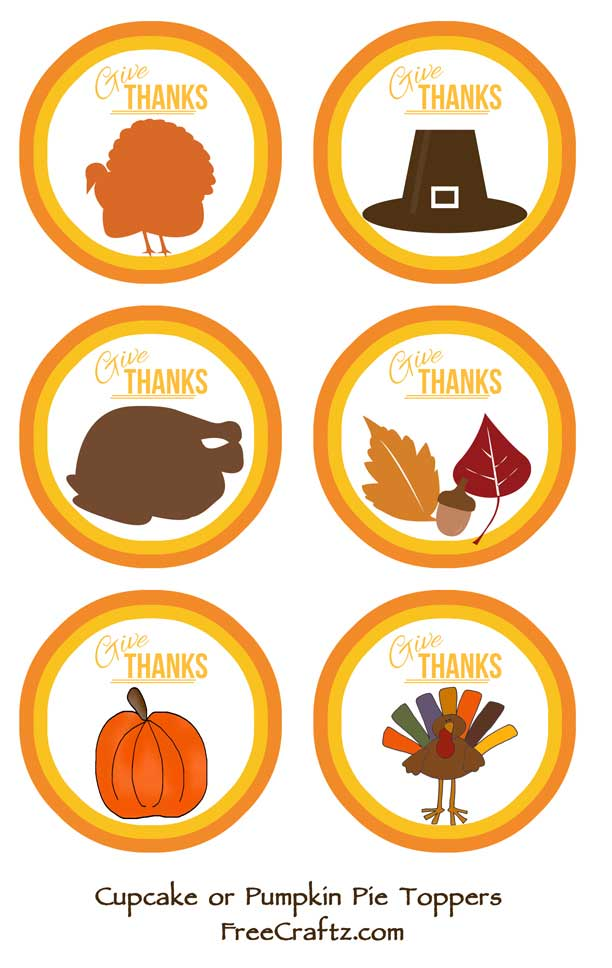 Thanksgiving Cupcake or Pie Toppers