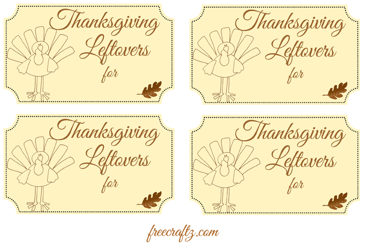 Thanksgiving Leftovers Label
