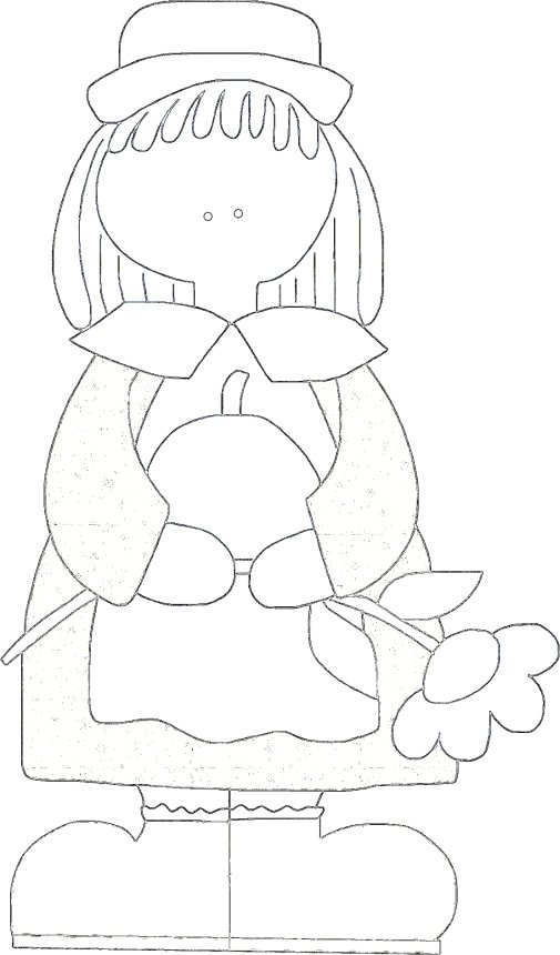 Girl Pilgrim - Thanksgiving Coloring Page