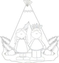 Thanksgiving Indians Coloring Page