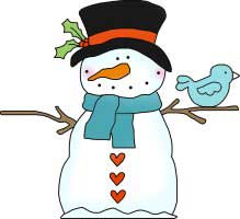 Snowman with Bird Friend